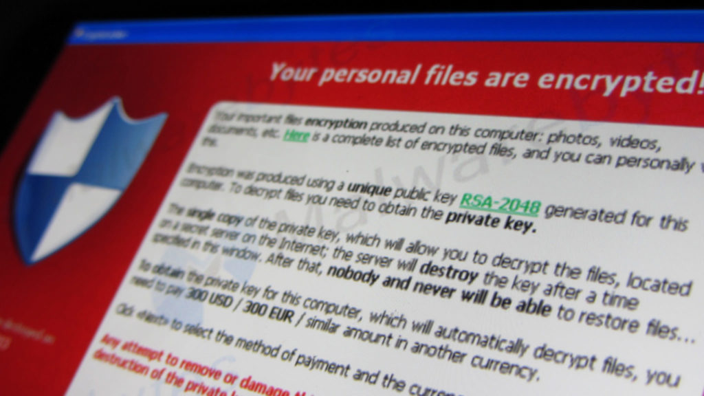A screenshot of ransomware
