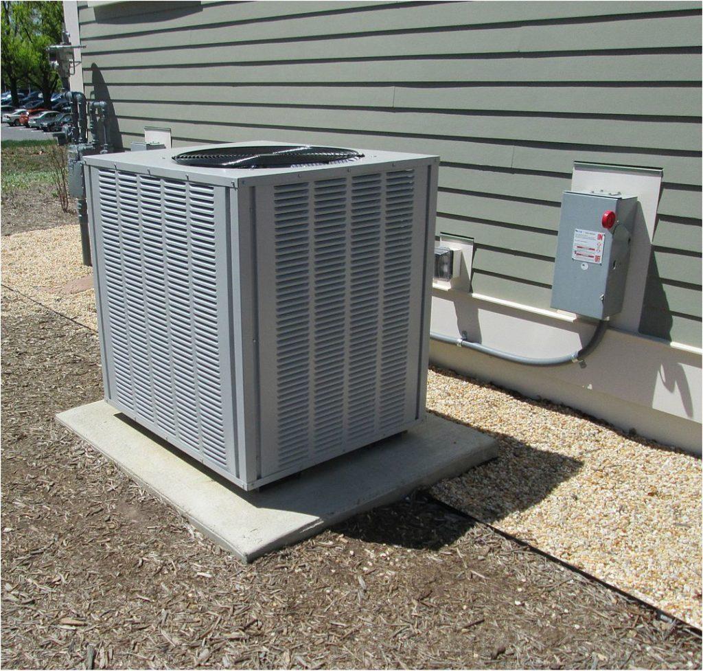 An HVAC unit outside a building